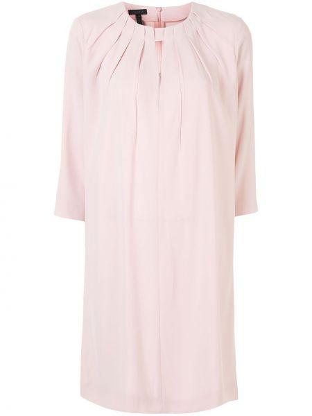 Розовое расклешенное платье с вырезом круглое Escada