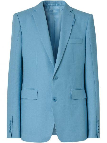 С рукавами синий удлиненный пиджак с карманами Burberry