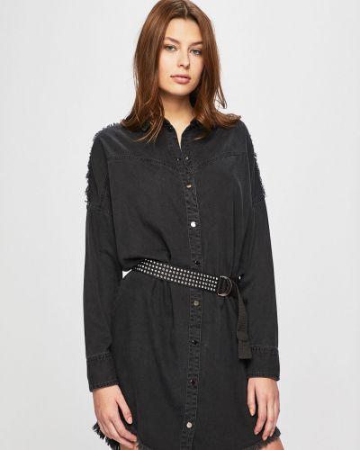 Свободное черное джинсовое платье с манжетами Guess Jeans