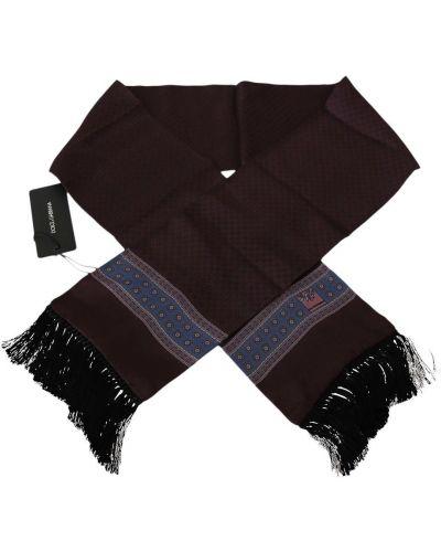Czarny szalik elegancki z frędzlami Dolce And Gabbana
