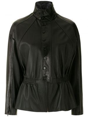 Черная кожаная куртка на молнии Nk