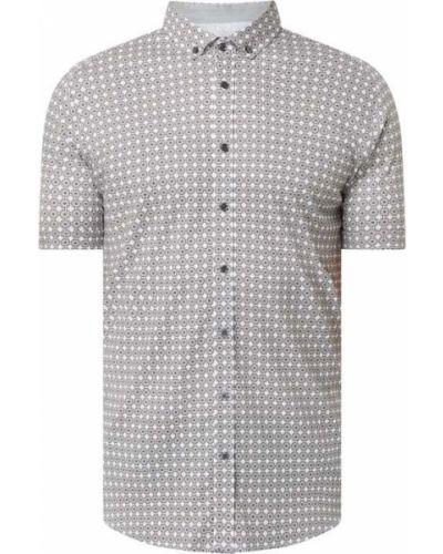 Brązowa koszula slim krótki rękaw bawełniana Desoto