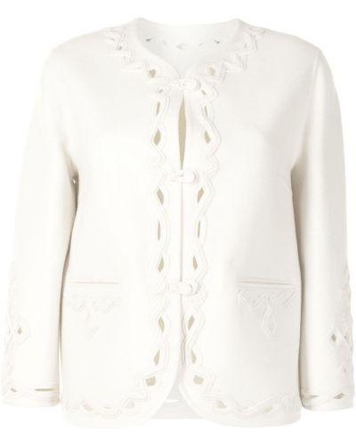 Шерстяной белый удлиненный пиджак на пуговицах Ermanno Scervino