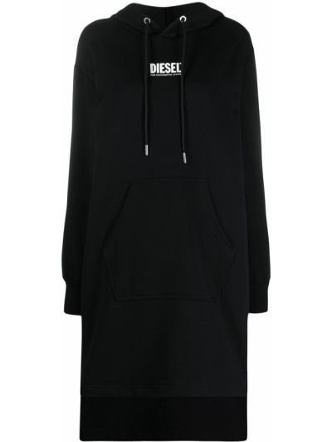 С рукавами черное платье макси с капюшоном Diesel