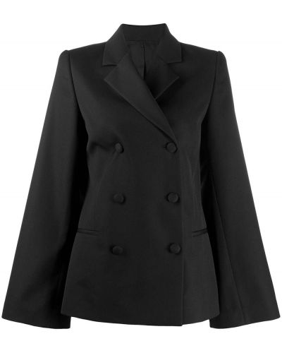 Черный удлиненный пиджак двубортный с карманами Toteme