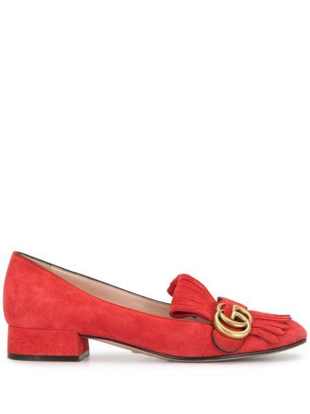 Красные кожаные лоферы на каблуке с бахромой Gucci Pre-owned
