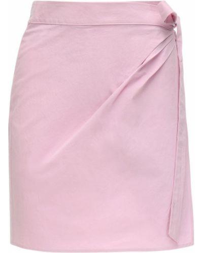 Różowa spódnica mini z wysokim stanem kopertowa Ciao Lucia