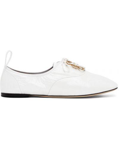 Białe ażurowe derby skorzane Loewe