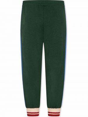 Zielone spodnie z wysokim stanem Gucci Kids