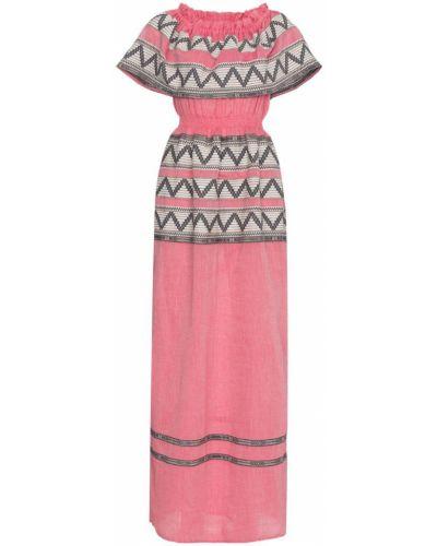Розовое платье с вышивкой Celia Dragouni