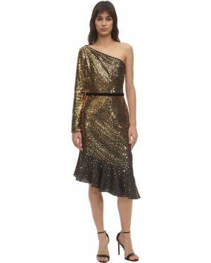 Платье миди на одно плечо с пайетками Marchesa Notte
