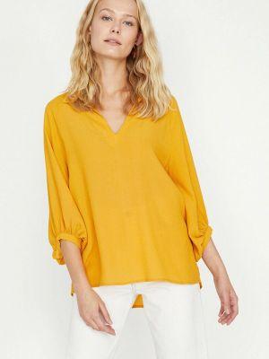 Желтая блузка с длинными рукавами Koton