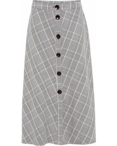 Черная юбка макси в клетку на пуговицах Bonprix