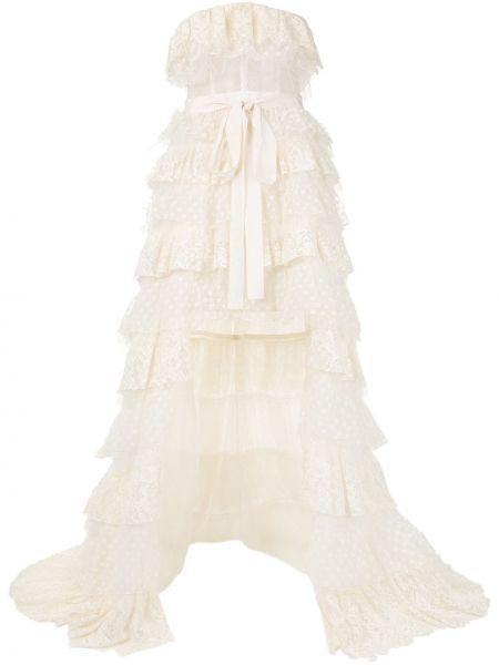 Белое асимметричное платье с вышивкой прозрачное Zuhair Murad