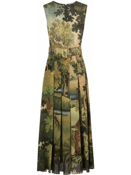 Шелковое приталенное платье с вырезом круглое Oscar De La Renta