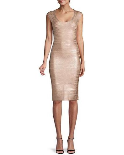Нейлоновое серебряное платье бандажное Hervé Léger