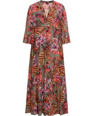 Летнее платье макси с оборками Bonprix