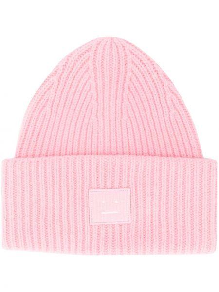 Prążkowana różowa czapka wełniana Acne Studios