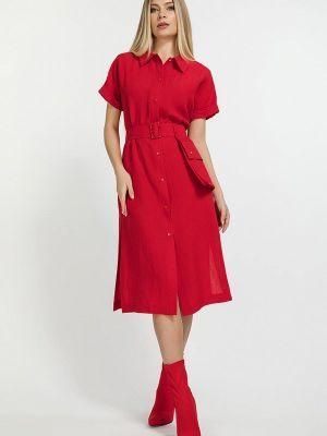 Красное платье-рубашка Clever Woman Studio