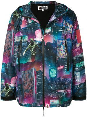 Фиолетовая прямая куртка с капюшоном на молнии с карманами Bape