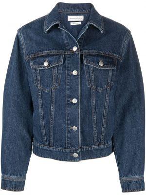 Ватная синяя джинсовая куртка с нашивками Alexander Mcqueen