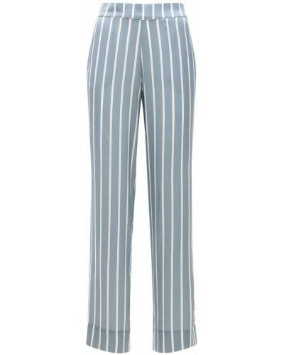 Niebieska satynowa piżama z printem Asceno