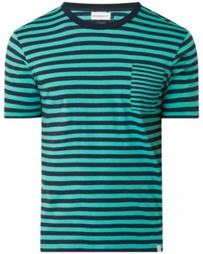 Zielony t-shirt bawełniany w paski Nowadays
