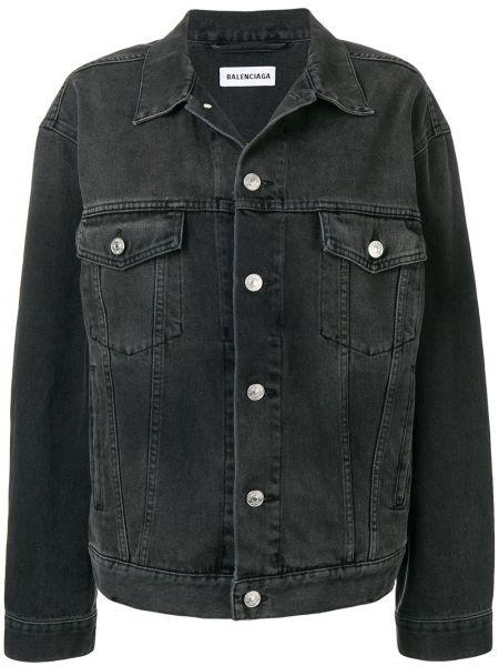 Джинсовая куртка черная на пуговицах Balenciaga