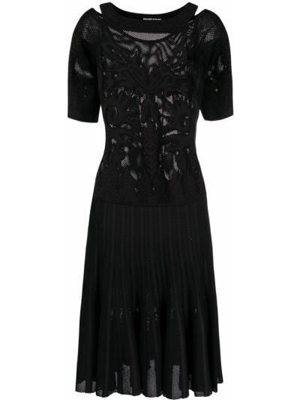 Плиссированное черное платье мини с вырезом Ermanno Scervino