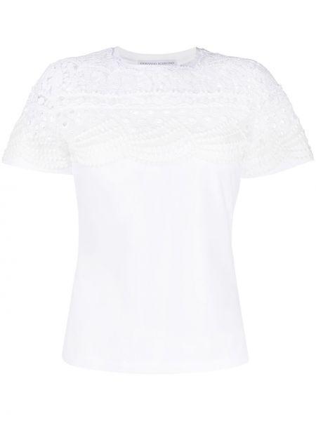 Акриловая прямая белая футболка Ermanno Scervino