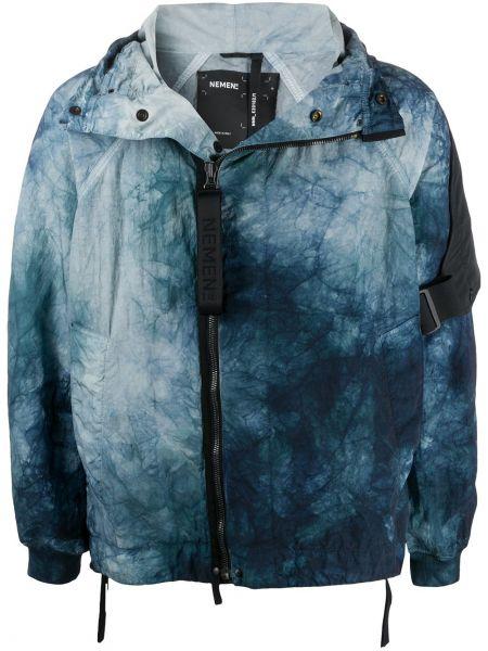 С рукавами классическая нейлоновая синяя куртка с капюшоном Nemen