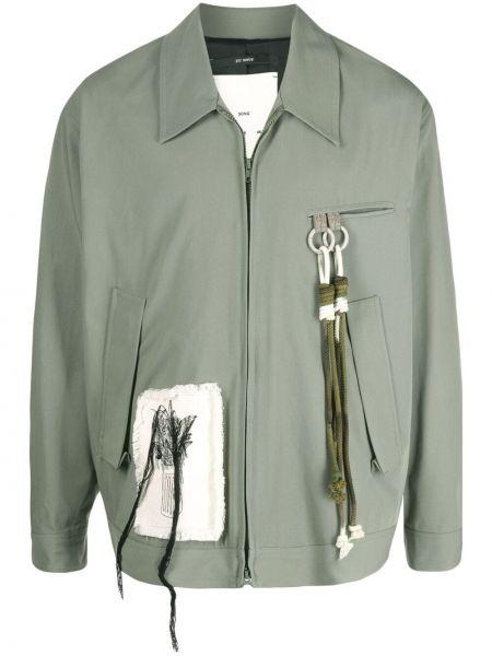 Zielona kurtka z haftem bawełniana Song For The Mute