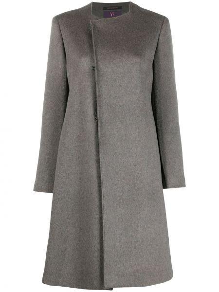 Серое кашемировое пальто с круглым вырезом Y's