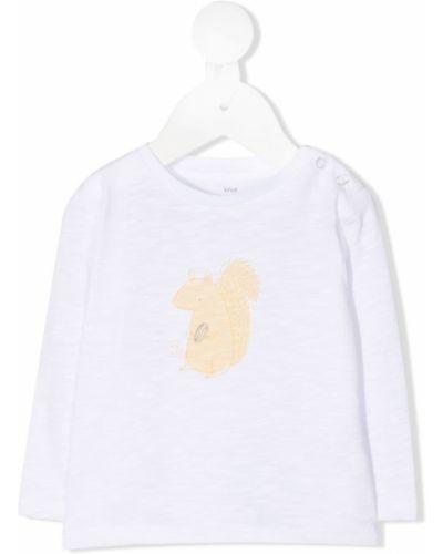 Белая хлопковая прямая футболка с круглым вырезом Knot