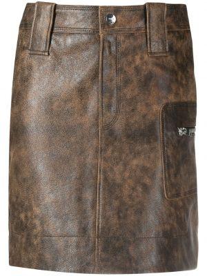 Юбка мини с завышенной талией - коричневая Ganni