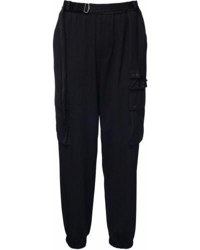 Czarne spodnie wełniane klamry Mcq Alexander Mcqueen
