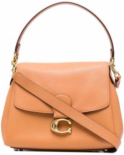 Оранжевая сумка металлическая Coach