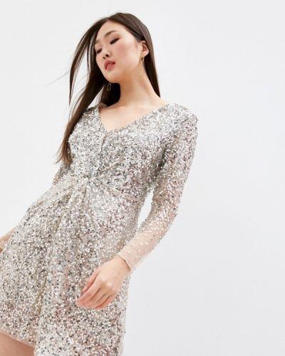Серебряное вечернее платье French Connection