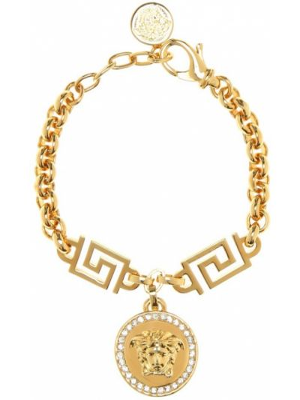 Золотой браслет металлический с камнями Versace