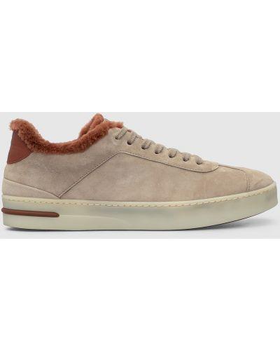 Замшевые кроссовки - бежевые Loro Piana