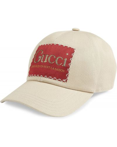 Bawełna bawełna beżowy czapka z haftem Gucci