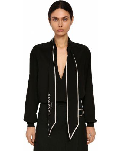 Prążkowana czarna koszula z jedwabiu Givenchy