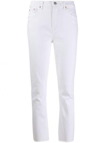 Białe jeansy bawełniane z paskiem Grlfrnd