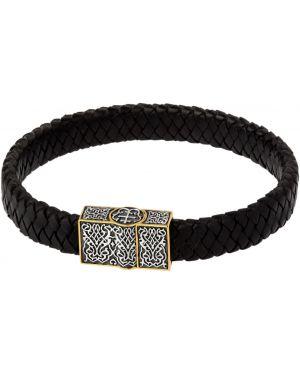 Кожаный браслет - черный ювелия