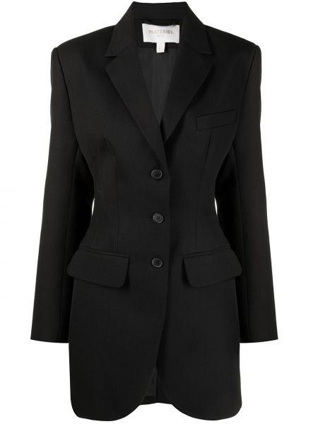 Однобортный черный удлиненный пиджак на пуговицах Matériel