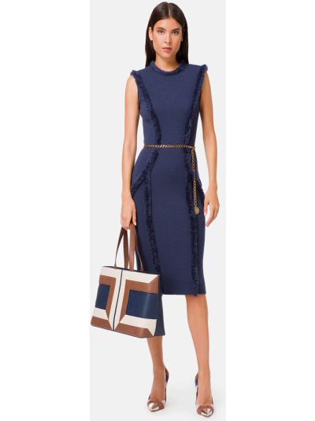 Шерстяное синее платье с поясом Elisabetta Franchi