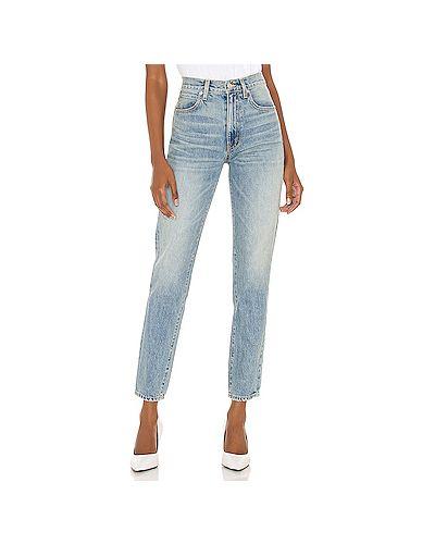 Хлопковые синие джинсы-скинни с карманами на молнии Slvrlake