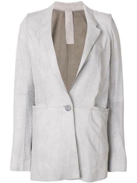 Однобортный серый кожаный пиджак Vanderwilt