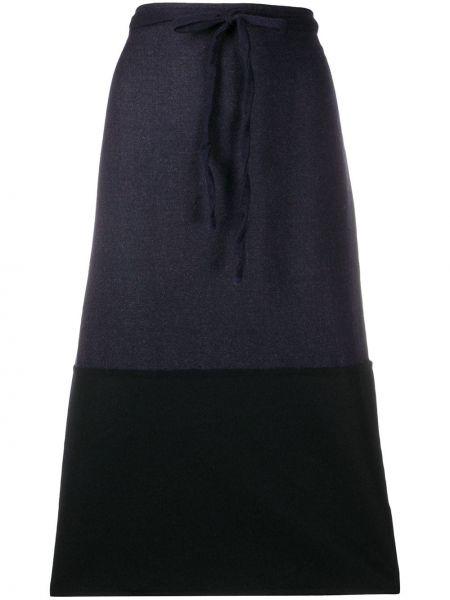 Шерстяная расклешенная синяя юбка миди со вставками Daniela Gregis