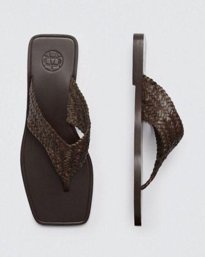 Кожаные коричневые сабо Massimo Dutti